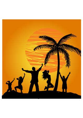 sunset people silhouette