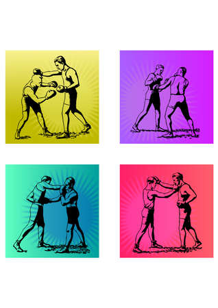 boxing of movements silhouette Stock Vector - 25173277