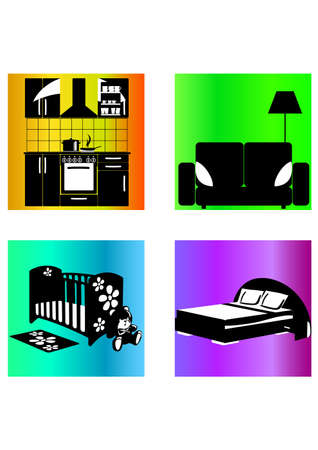 silhouette of home furnishings