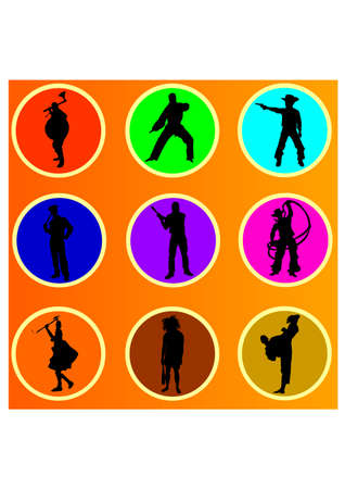 fighting people silhouette