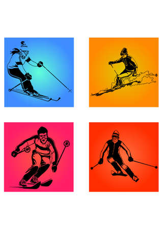 silhouette of skiers Illustration