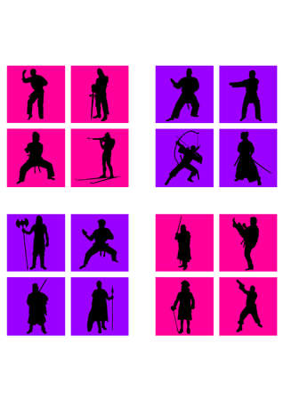 fighter people of silhouette Stock Vector - 25228152
