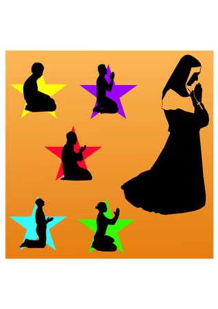 silhouette of pray people