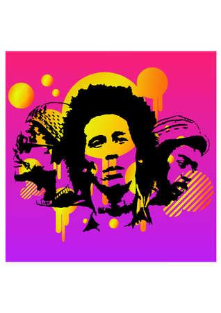 popular tale: silhouette of singer reggae