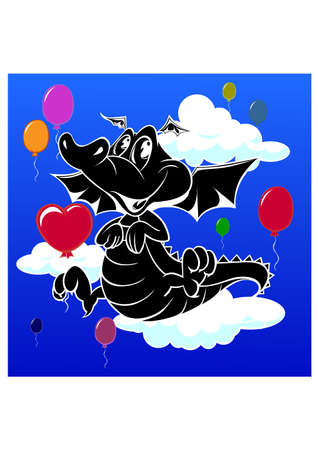 silhouette of baby dragon Vector