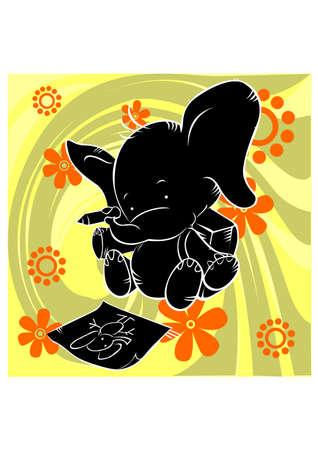 baby elephant silhouette Stock Vector - 25510358