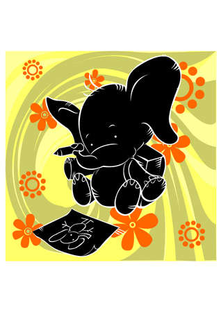 baby elephant silhouette Illustration