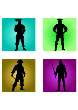 silhouette of great pirates Illustration