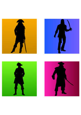 silhouette of strong pirates