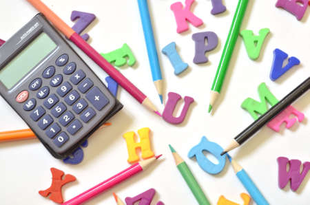 color alphabet ABC with Multicolored pencils calculator Banque d'images