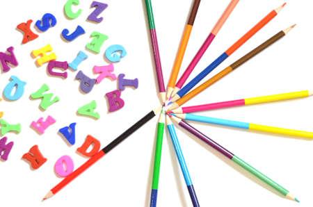 color alphabet ABC with Multicolored pencils Banque d'images