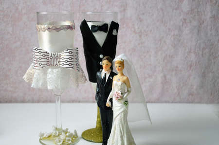 champagne glasses decorated by handmade. bride and groom. decoration wedding day. Stock fotó