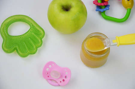 Fresh, organic pureed fruits for baby. Shot for a story on homemade, organic, healthy baby foods.