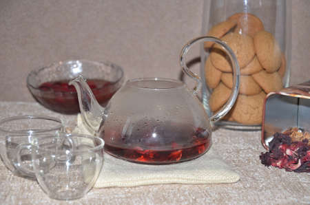Glass teapots with color tea Archivio Fotografico