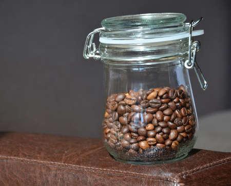 Coffee bean in glass bottle.