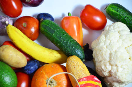 Close up of various colorful raw vegetables vegetarianism, healthy eating, food delivery