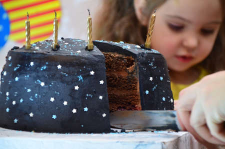 cut a big chocolate cake. happy little girl celebrates birthday, balloons and decorations. the candles on the cake blow out. Happy group of children having fun at birthday party Zdjęcie Seryjne