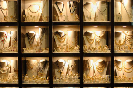 Jewelry store show-window. Lindos town. Greece Stock Photo