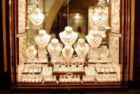 Jewelry store show-window. Lindos town. Greece Stock Photo