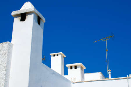 White roofs in the old greek town Lindos. Rhodes island. Greece
