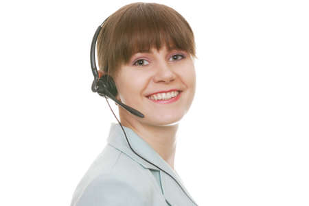 Attractive Customer Support Representative with smile isolated on white background photo
