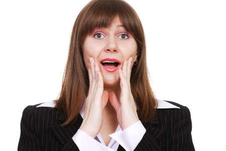 Portrait of a very surprised beautiful businesswoman isolated on a white background Stock Photo