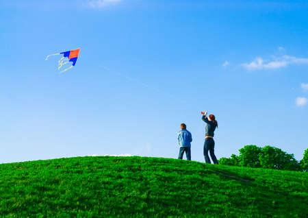 Family kite Stock Photo