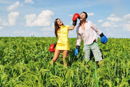 emotional freedom: Young couple fighting Stock Photo