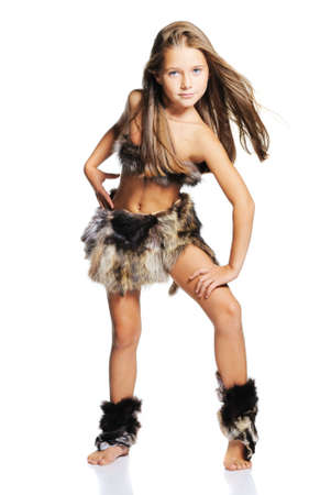 image created 21st century: Little girl in the furs as a primitive man. Isolated on white
