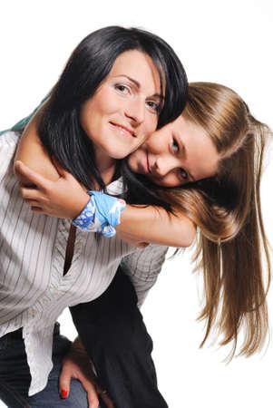 mama e hija: Madre con hija aislada en blanco Foto de archivo
