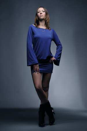 Young fashion model in blue clothes Stock Photo - 5889828