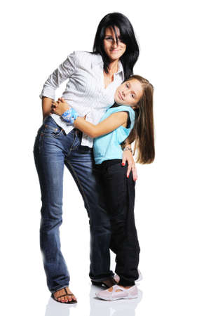 Mother with daughter on white background. Happy family
