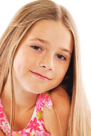 Portrait de petite fille blonde avec des cheveux longs sur fond blanc  Banque d'images - 6292982