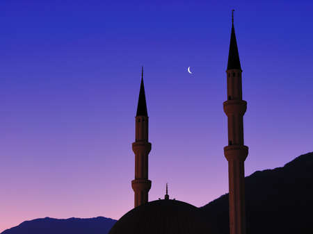 Mosque at sunset Stock Photo