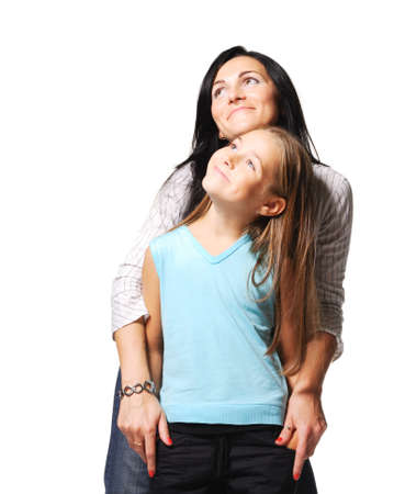 Mother with daughter on white background photo