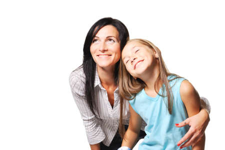Mother with daughter dreaming. White background photo