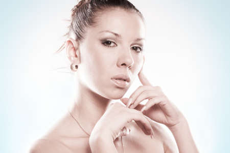 Young beautiful Caucasian woman with long nails Stock Photo - 8914079