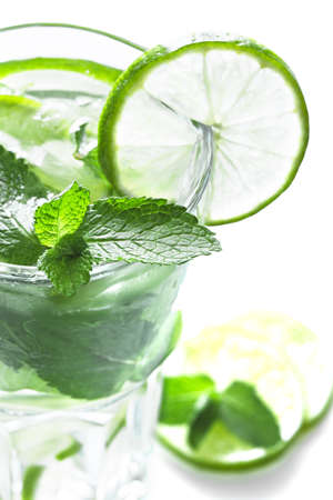Mojito cocktail on white background photo