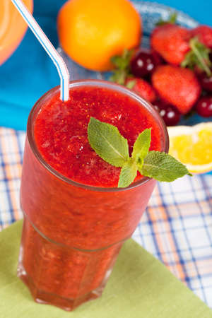 Strawberry smoothie on a colorful background Standard-Bild