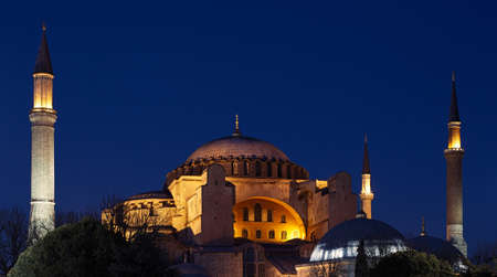 Night view to the Hagia Sophia  Ayasofya  in Istanbul, Turkey photo
