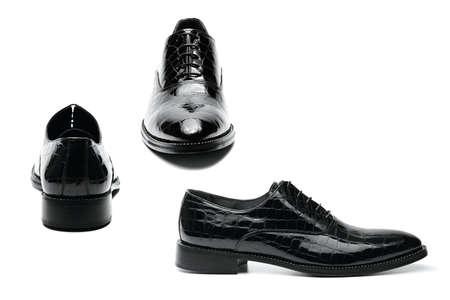 Black varnished leather men photo