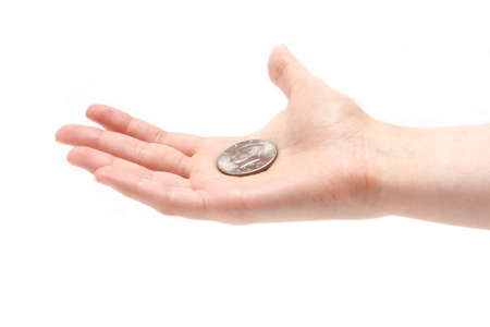 half cent: fifty cent coin on the opened palm isolated