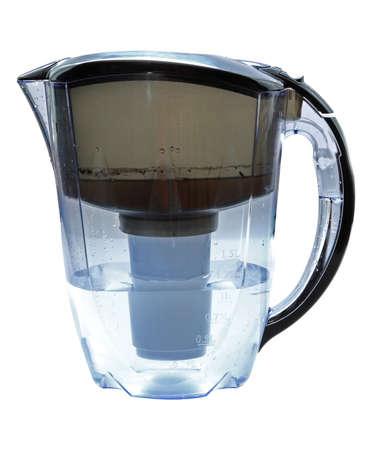 filtraci�n: Filtro para el agua con agua sucia en un embalse y limpiar despu�s de filtraci�n otro embalse