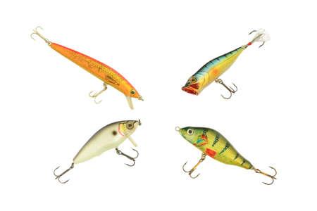 分離した白い背景にさまざまな種類の釣りのルアー 写真素材