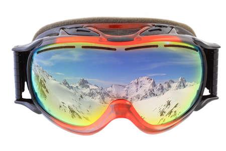 白い背景と分離されたスキー用ゴーグル