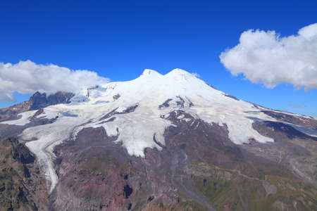 elbrus: mount Elbrus is an ancient extinct volcano and the highest mountain in Europe. Its height - 5642 m. view from mount Cheget.
