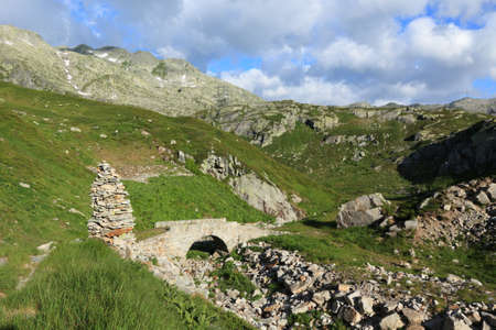 ancient pass: old mountain track in the Swiss Alps