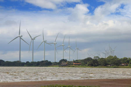 group of wind turbines at the coast of lake Nicaragua photo