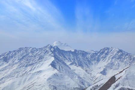 Top of the mount Kazbek. Main Cucasus ridge Imagens