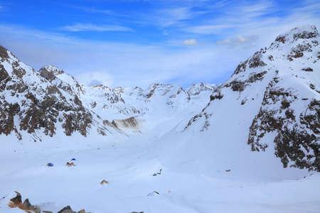 Adyl Sou gorge. View from the moraine of Bashkara glacier 写真素材